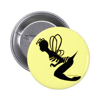 Botón de la silueta del chica de la abeja pin redondo de 2 pulgadas