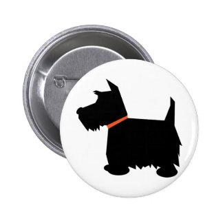 Botón de la silueta del negro del perro de Terrier Pin