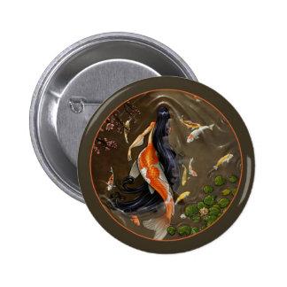 Botón de la sirena de Koi Pin Redondo De 2 Pulgadas
