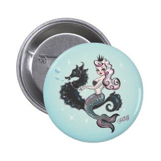 Botón de la sirena de Pearla por la pelusa Pin Redondo De 2 Pulgadas