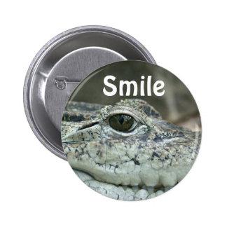Botón de la sonrisa del cocodrilo pin redondo de 2 pulgadas