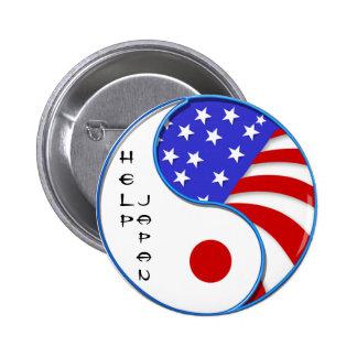 Botón de la súplica de Japón los E.E.U.U. Yinyang Pin Redondo De 2 Pulgadas