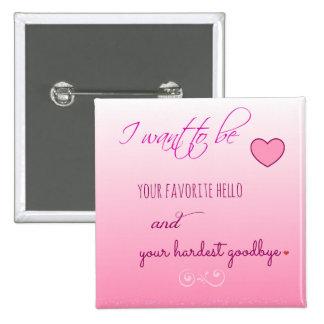 Botón de la tarjeta del día de San Valentín de Pin Cuadrado