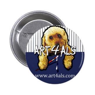 Botón de la tela a rayas del ALS del ARTE 4 Pin