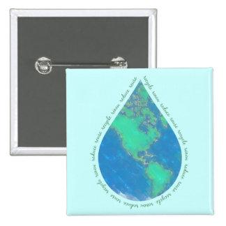 Botón de la tierra del descenso del agua pin cuadrado