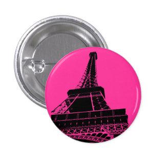 Botón de la torre Eiffel en rosa Pin Redondo De 1 Pulgada
