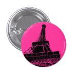 Botón de la torre Eiffel en rosa Pins