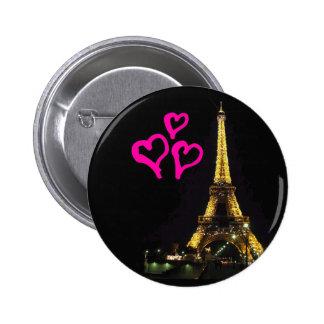 Botón de la torre Eiffel Pin Redondo De 2 Pulgadas