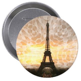 Botón de la torre Eiffel Pin Redondo De 4 Pulgadas