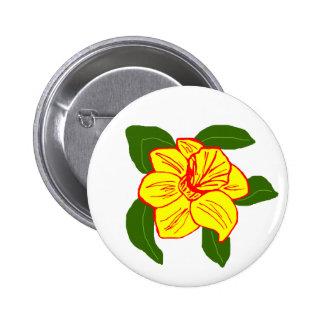 Botón de la tortuga de mar de la flor del narciso pin redondo de 2 pulgadas