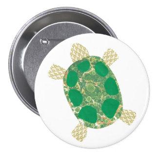 Botón de la tortuga verde pin redondo de 3 pulgadas
