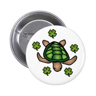 Botón de la tortuga y del trébol pin