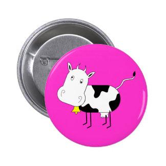 Botón de la vaca del dibujo animado pins