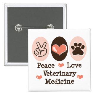 Botón de la veterinaría del amor de la paz pin
