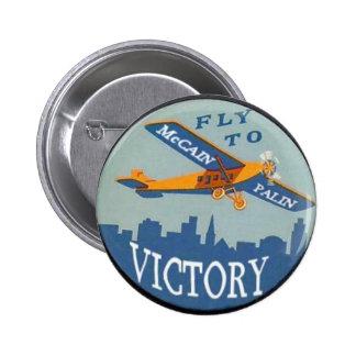 Botón de la victoria de McCain/Palin Pin Redondo De 2 Pulgadas