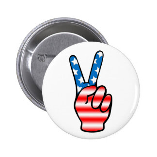 Botón de la victoria (rojo, blanco y azul) pin redondo de 2 pulgadas