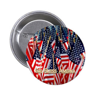Botón de las banderas americanas pin redondo de 2 pulgadas