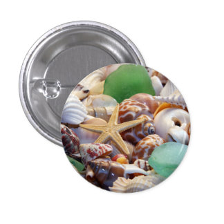 Botón de las estrellas de mar de los Seashells y d Pin Redondo De 1 Pulgada