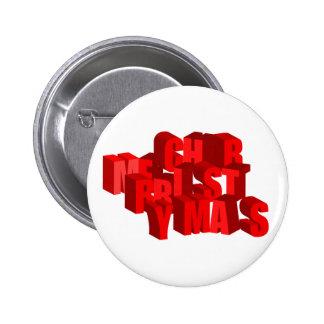 botón de las Felices Navidad 3D Pin Redondo De 2 Pulgadas