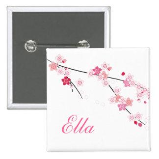 Botón de las flores de cerezo de Sakura con nombre Pin Cuadrado
