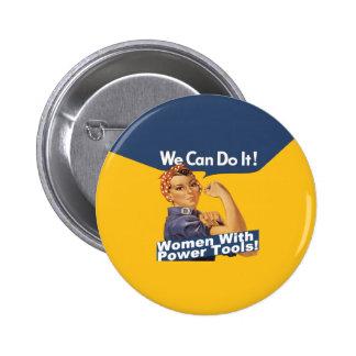 Botón de las herramientas eléctricas de las mujere pin redondo de 2 pulgadas