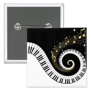 Botón de las llaves del piano y de las notas de la pin cuadrado