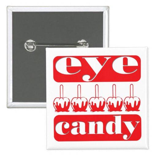 Botón de las manzanas de caramelo del ojo para pin cuadrado