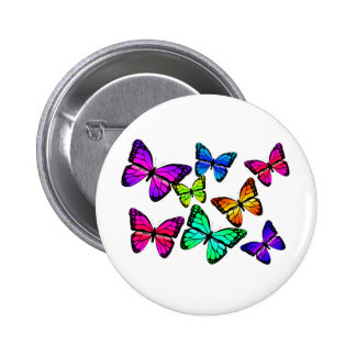 Botón de las mariposas pin redondo de 2 pulgadas