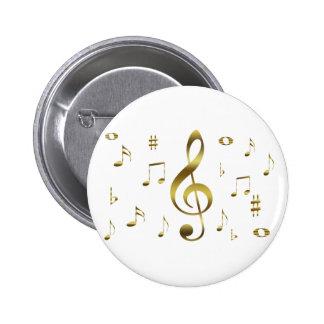 Botón de las notas musicales del oro pin redondo de 2 pulgadas