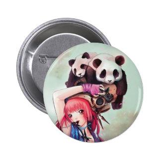 Botón de las pandas de Ninja del melocotón Pin Redondo De 2 Pulgadas