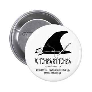 Botón de las puntadas de las brujas pin redondo de 2 pulgadas