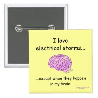 Botón de las tormentas eléctricas pin cuadrado
