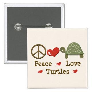 Botón de las tortugas del amor de la paz