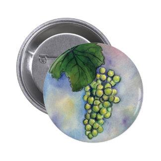 Botón de las uvas de vino de Chardonnay Pin Redondo De 2 Pulgadas