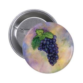 Botón de las uvas de vino del pinot negro pin redondo de 2 pulgadas