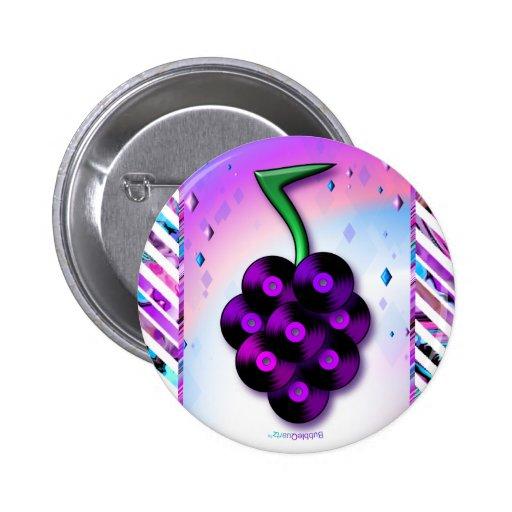 Botón de las uvas del disco de vinilo pin redondo de 2 pulgadas