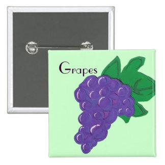 Botón de las uvas pin cuadrado