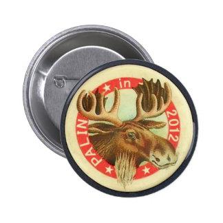 Botón de los alces de Palin 2012 Pin Redondo De 2 Pulgadas