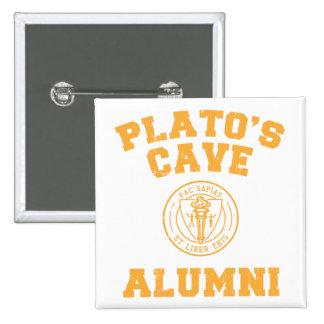 Botón de los alumnos de la cueva de Platón Pin Cuadrado
