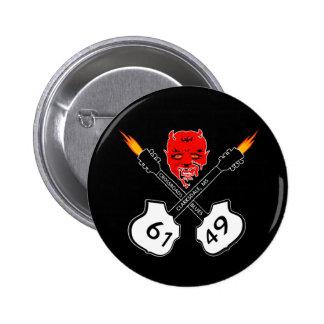 Botón de los azules del diablo de los cruces pin redondo de 2 pulgadas