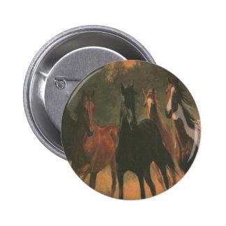 Botón de los caballos salvajes pin redondo de 2 pulgadas