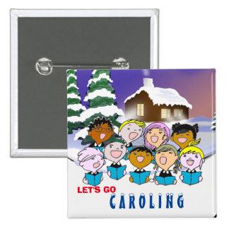 Botón de los Carolers del navidad Pin Cuadrado