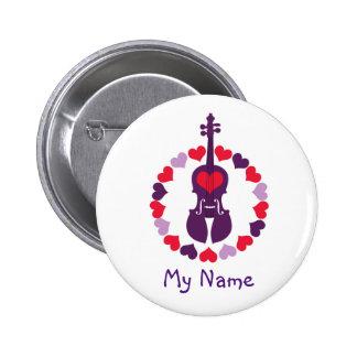 Botón de los corazones del violín pin redondo de 2 pulgadas