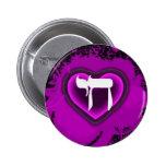 Botón de los corazones púrpuras de Chai Pins