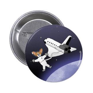 Botón de los Corgis del espacio Pin Redondo De 2 Pulgadas