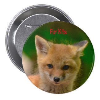 Botón de los derechos de los animales, matanzas de pin redondo de 3 pulgadas