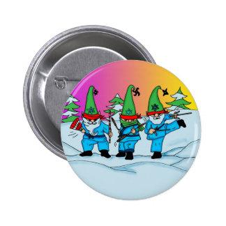 Botón de los duendes de Ninja del navidad Pin Redondo De 2 Pulgadas