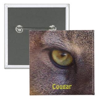 Botón de los Fauna-amantes del ojo del puma del Pin Cuadrado