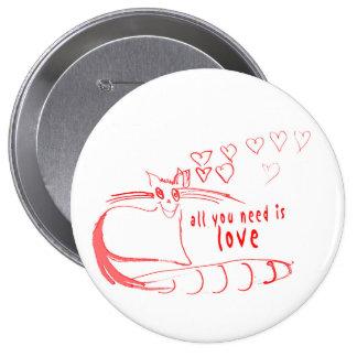 Botón de los gatos del el día de San Valentín Pin Redondo De 4 Pulgadas