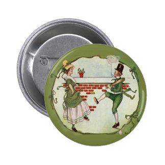 Botón de los Leprechauns del baile del vintage Pin
